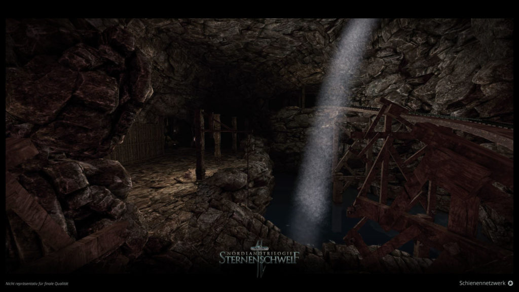 Schienen in großer Höhle